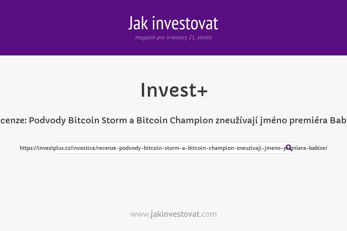 Recenze: Podvody Bitcoin Storm a Bitcoin Champion zneužívají jméno premiéra Babiše