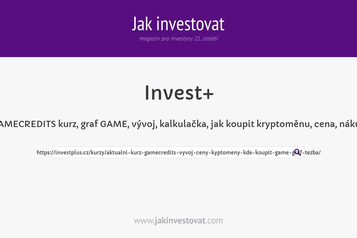 GAMECREDITS kurz, graf GAME, vývoj, kalkulačka, jak koupit kryptoměnu, cena, nákup