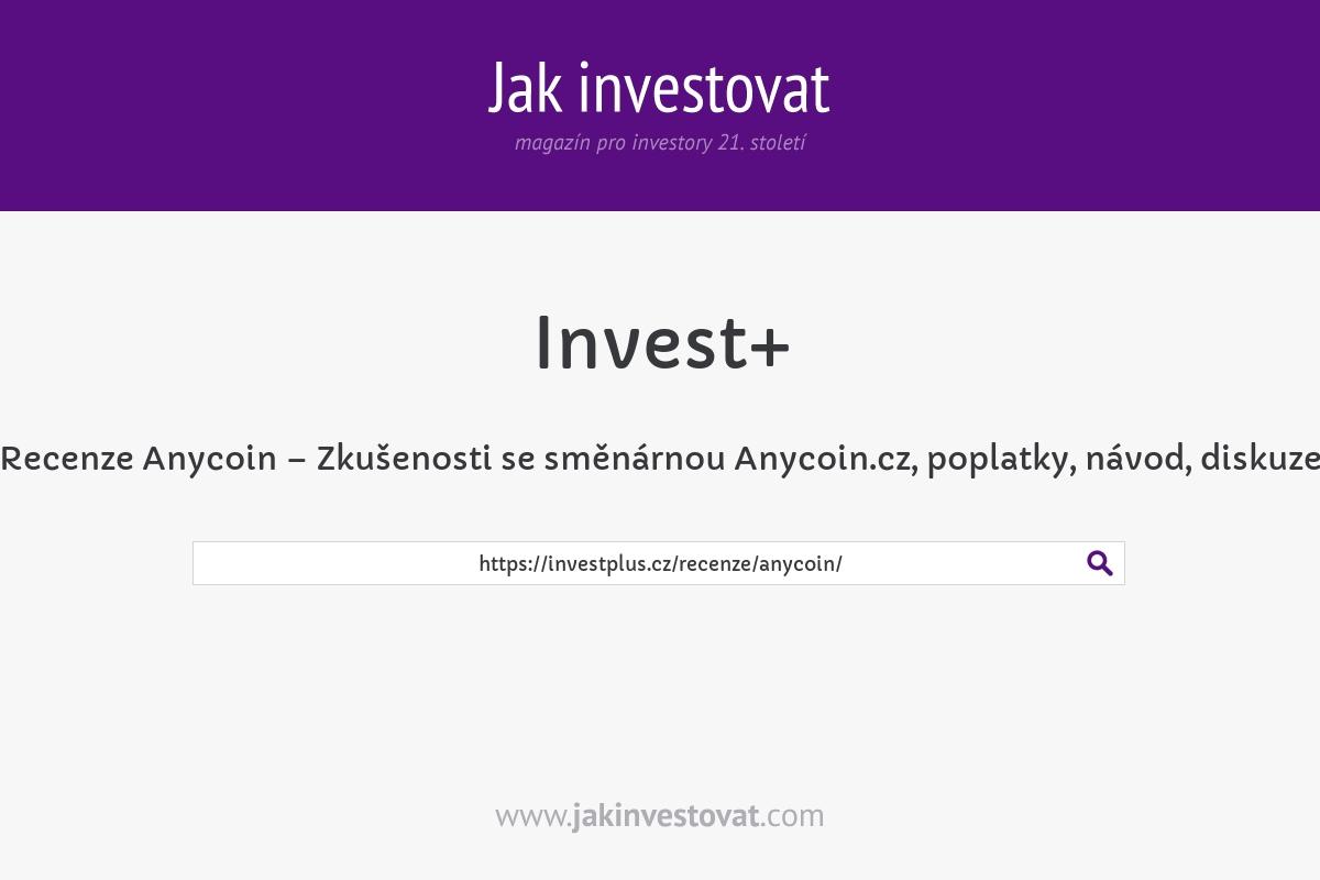 Recenze Anycoin – Zkušenosti se směnárnou Anycoin.cz, poplatky, návod, diskuze