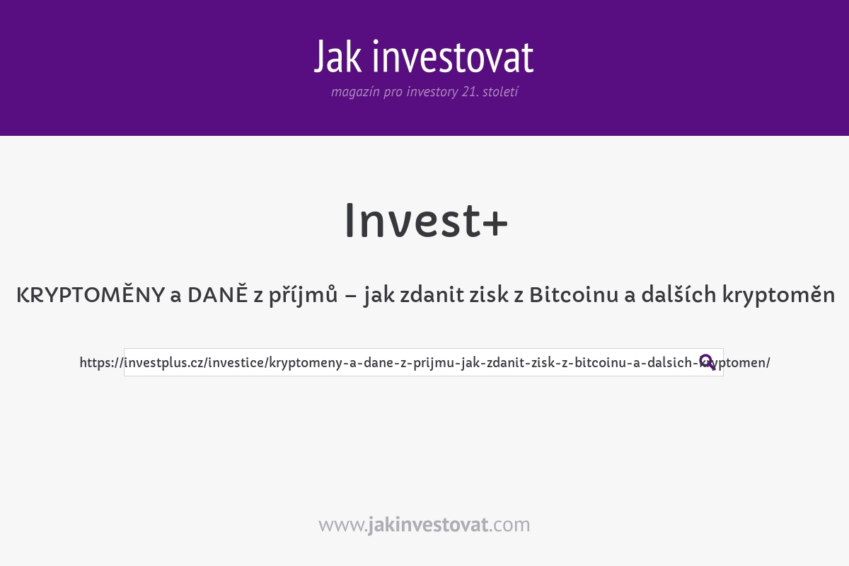 KRYPTOMĚNY a DANĚ z příjmů – jak zdanit zisk z Bitcoinu a dalších kryptoměn