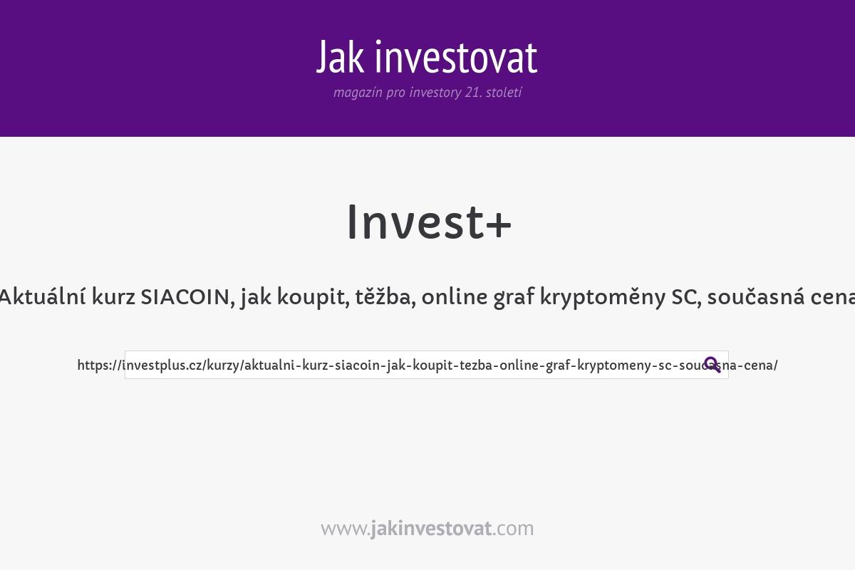 Aktuální kurz SIACOIN, jak koupit, těžba, online graf kryptoměny SC, současná cena